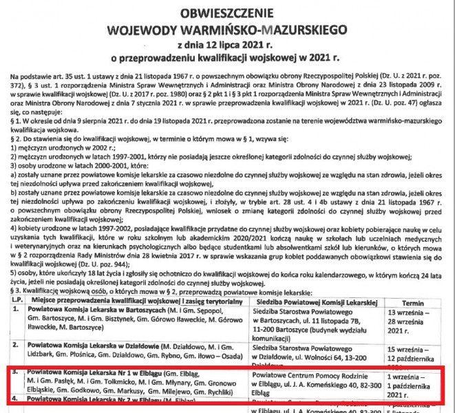 Ilustracja do informacji: Obwieszczenie Wojewody Warmińsko Mazurskiego z dnia 12 lipca 2021r o przeprowadzeniu kwalifikacji wojskowej w 2021 r